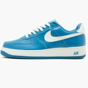 Nike blue and white Air Force 1s